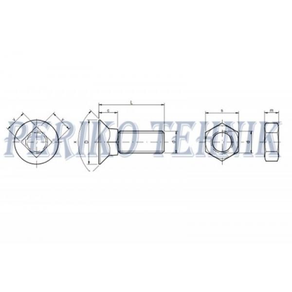 Polt+mutter M10x35 DIN608 (4-kant) 10.9