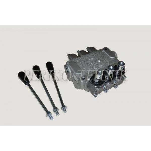 "Hydraulic Valve 20L/min 3-sections (P-A-B 1/4""; T 3/8"") (BLB)"