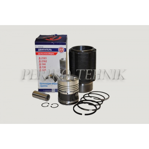 Engine repair kit D-144, D-21, 2 oil rings, (piston+liner+piston rings+piston axle+circlips) (ZAVOD DVIGATEL)