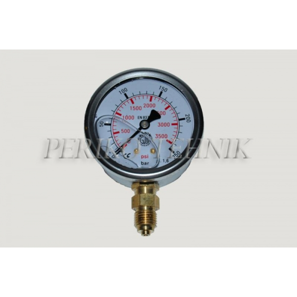 "Pressure Gauge DN63 0-250 bar, 1/4"" bottom fixing"