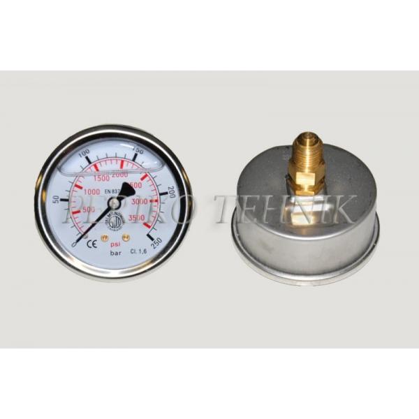 "Manomeeter DN63 0-250 bar, 1/4"" tagant kinnitus"