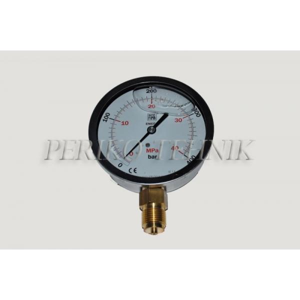 """Manomeeter DN100 0-400 bar, 1/2"""" alt kinnitus"""