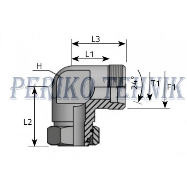 Adjustable male stud elbow 90° metric 8L M14x1,5