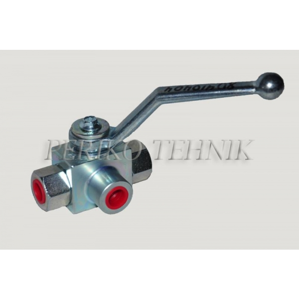 "3-way Ball Valve L-type G1/4"" with fixing holes"