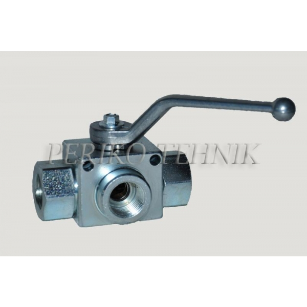 "3-way Ball Valve L-type G1/2"" with fixing holes"