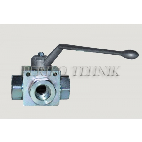 "3-way Ball Valve L-type G3/4"" with fixing holes"