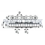 Rullpukskett 16A-1H (80H) 25,4 mm (KAHI)
