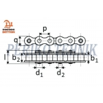 Roller Chain 16A-1 25,4 mm (2 meters) (DITTON)