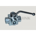 "3-way Ball Valve L-type G3/8"" with fixing holes"