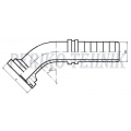 """Hose fitting SAE 3 3/4"""" (38,1 mm) 45° - DN20"""